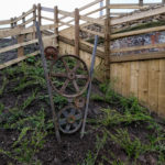 'Between the Tracks' sculpture fabricated by Neil McArthur with wheels donated by local residents
