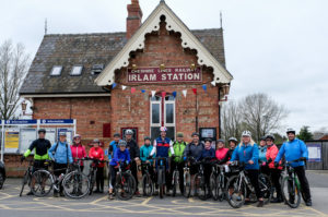 Cyclist gather at Irlam Station having cycled from Media City