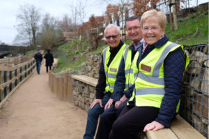 Some of the Friends of Irlam Station (FIRST) enjoying the higher-level view from the pathway seating