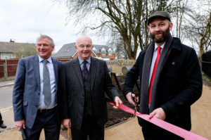 Salford City Mayor Paul Dennet and Lord Lieutenant of Greater Manchester Warren Smith join Neil McArthur to officially open Station Park